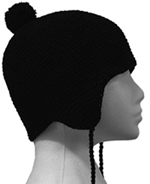 Unisex Beannie with Bobble - Black